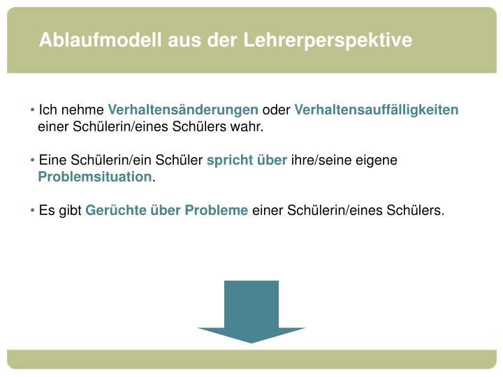 Ablaufmodell aus der Lehrerperspektive