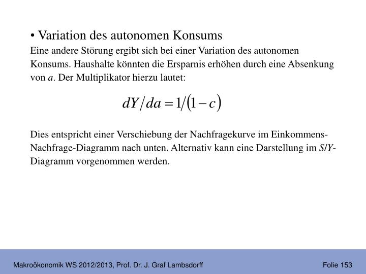 Variation des autonomen Konsums