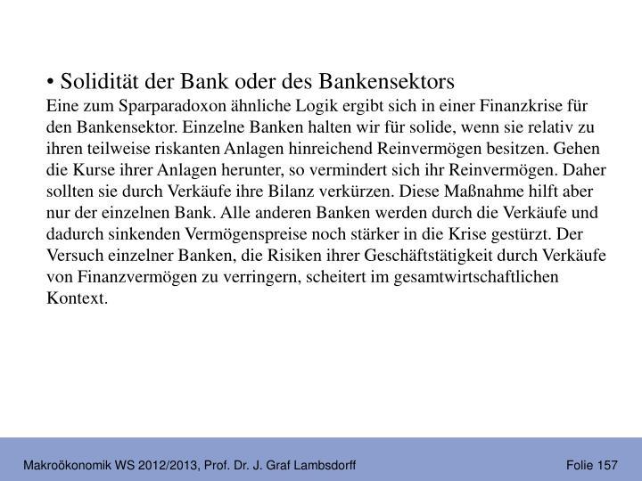 Solidität der Bank oder des Bankensektors