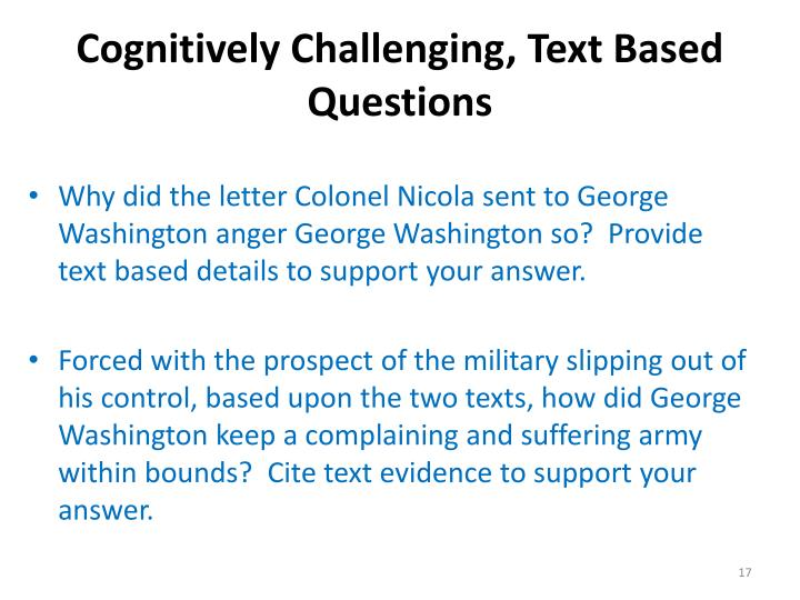 Cognitively Challenging, Text Based Questions