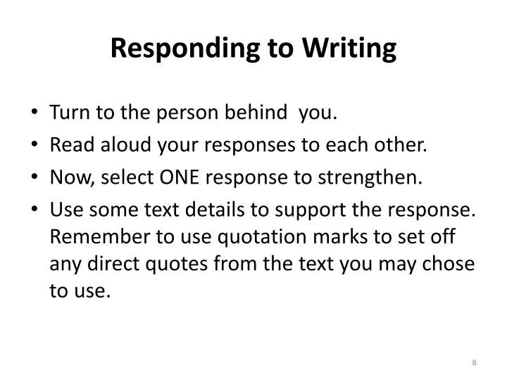 Responding to Writing
