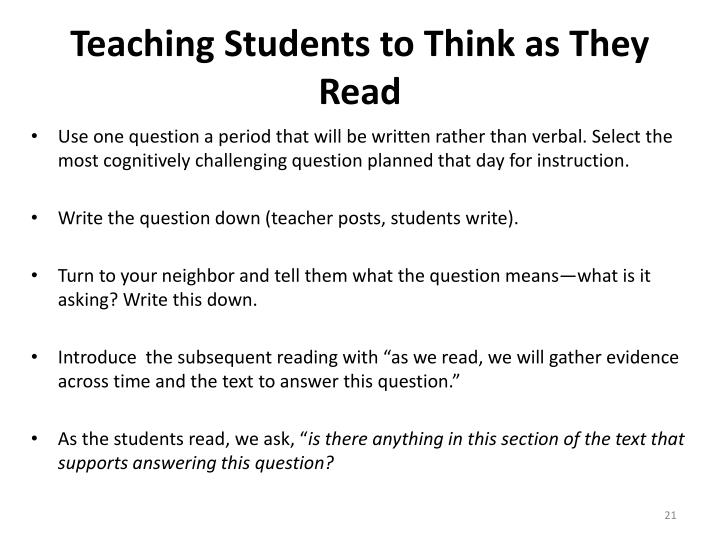 Teaching Students to Think as They Read