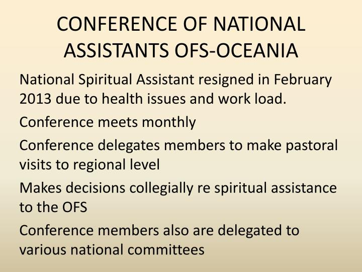 CONFERENCE OF NATIONAL ASSISTANTS OFS-OCEANIA