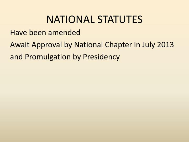 NATIONAL STATUTES