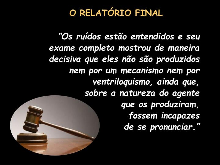 O RELATÓRIO FINAL