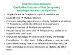 common core standards qualitative features of text complexity knowledge demands life experience