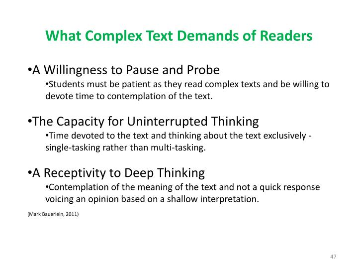 What Complex Text Demands of Readers
