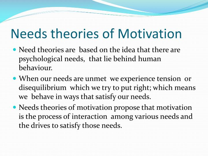 different theories of motivation Many different motivation theories have been created and dissected over the past  century in an attempt to understand human behaviour and.