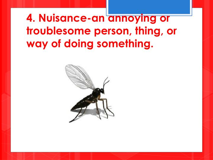4. Nuisance-an annoying or troublesome person, thing, or way of doing something.