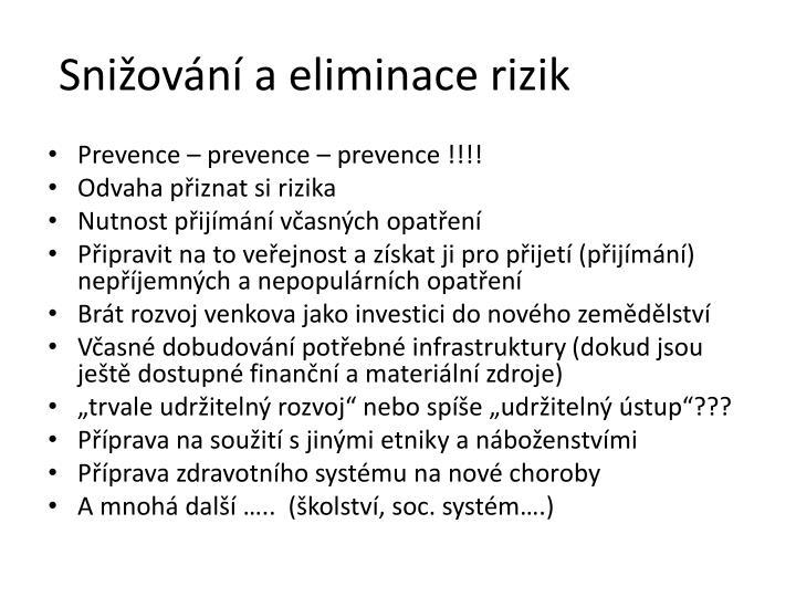 Snižování a eliminace rizik