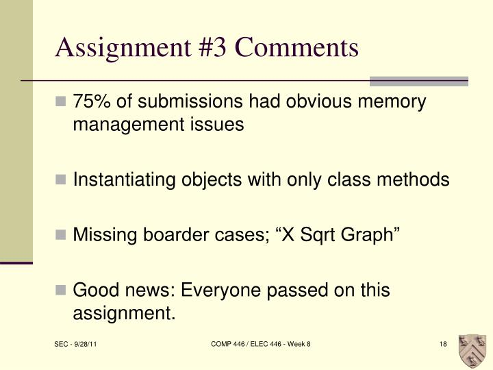 Assignment #3 Comments