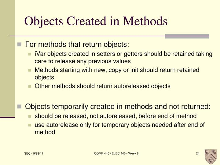 Objects Created in Methods