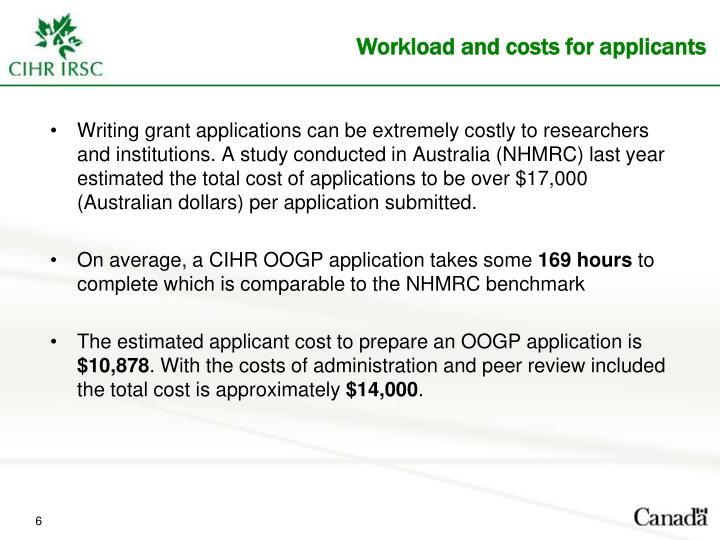 Writing grant applications can be extremely costly to researchers and institutions. A study conducted in Australia (NHMRC) last year estimated the total cost of applications to be over $17,000 (Australian dollars) per application submitted.