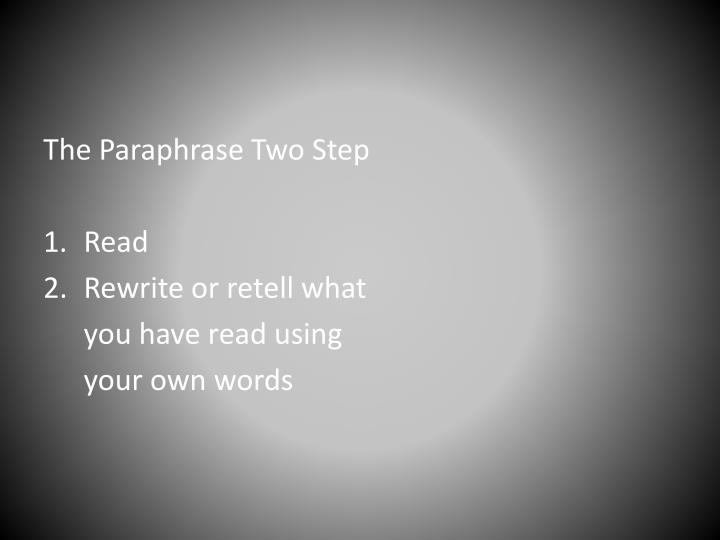 The Paraphrase Two Step
