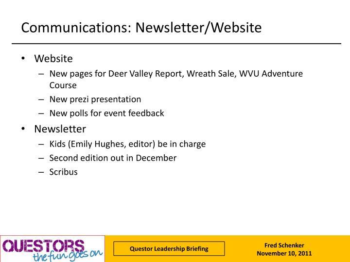 Communications: Newsletter/Website