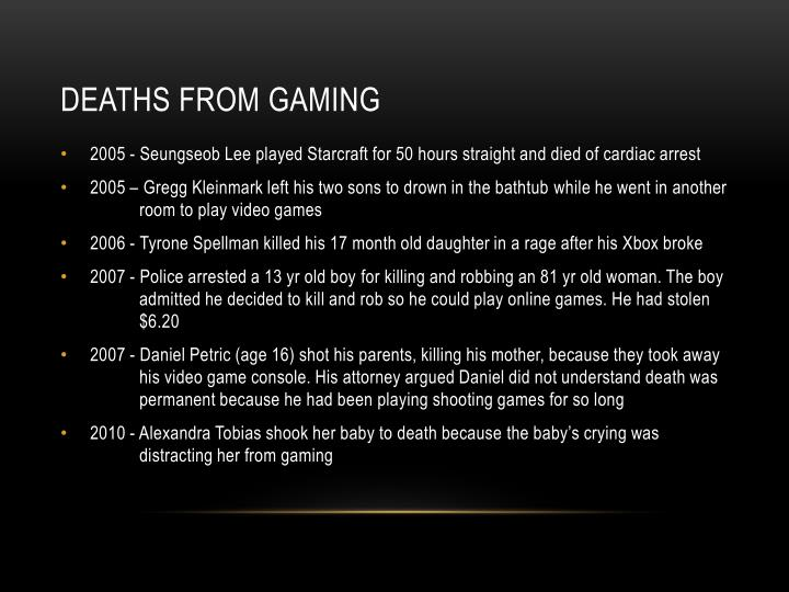 Deaths from gaming