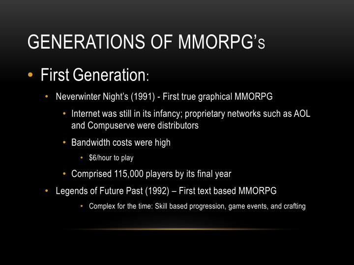 Generations of MMORPG'