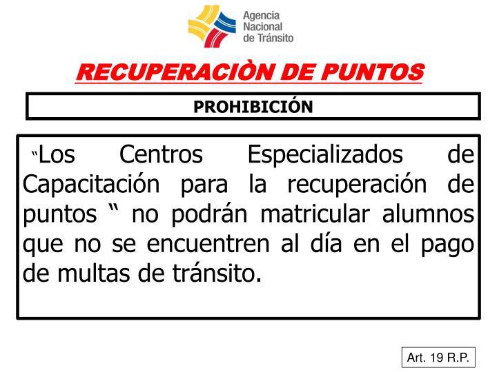 RECUPERACIÒN DE PUNTOS