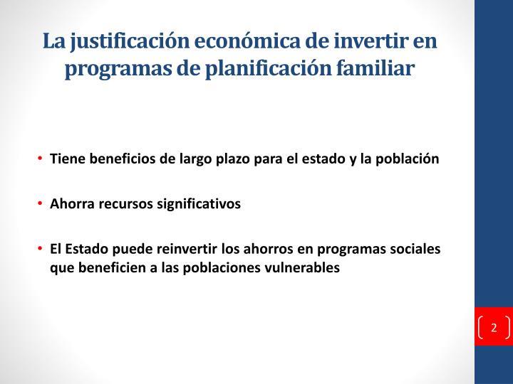 La justificación económica de invertir en programas de planificación familiar