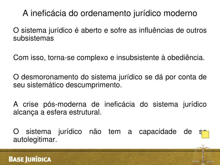 A ineficácia do ordenamento jurídico moderno