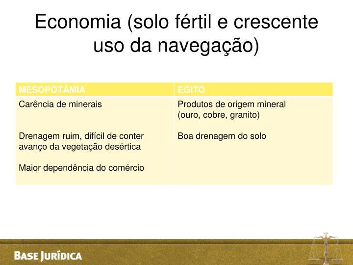 Economia (solo fértil e crescente uso da navegação)
