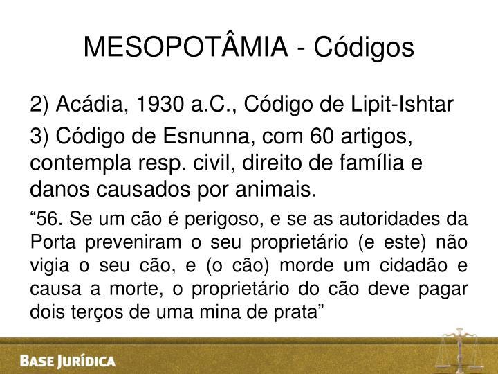 MESOPOTÂMIA - Códigos