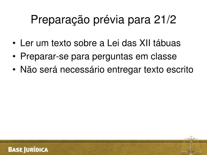 Preparação prévia para 21/2