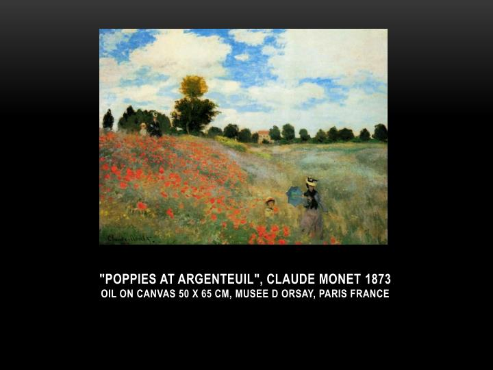 Poppies at argenteuil claude monet 1873 oil on canvas 50 x 65 cm musee d orsay paris france