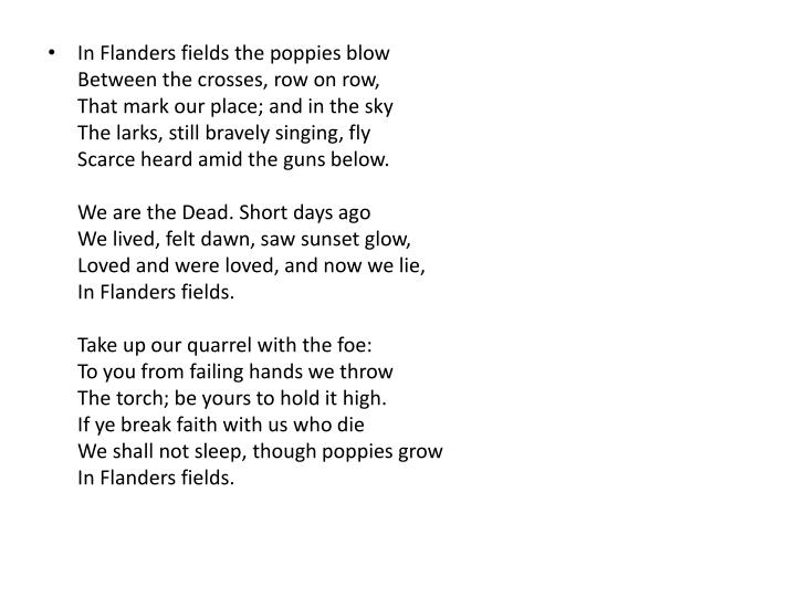 In Flanders fields the poppies blow