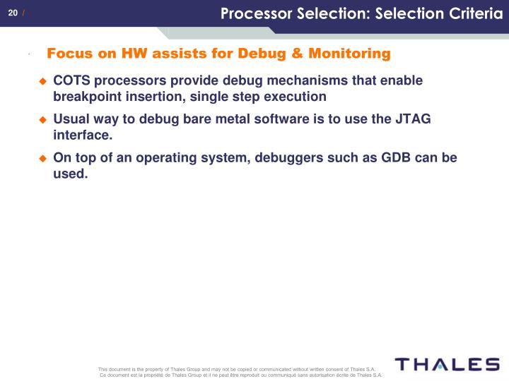 Processor Selection: