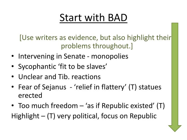 Start with BAD