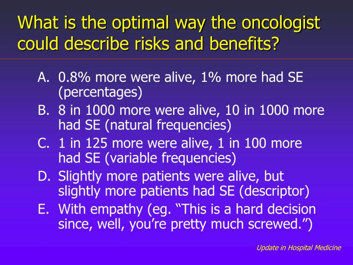 What is the optimal way the oncologist could describe risks and benefits?