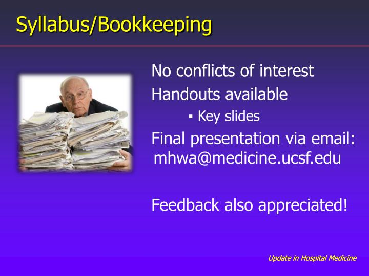 Syllabus/Bookkeeping