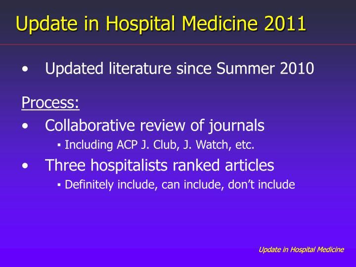 Update in Hospital Medicine 2011