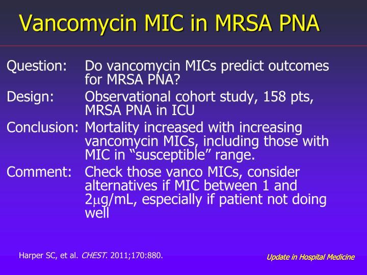 Vancomycin MIC in MRSA PNA