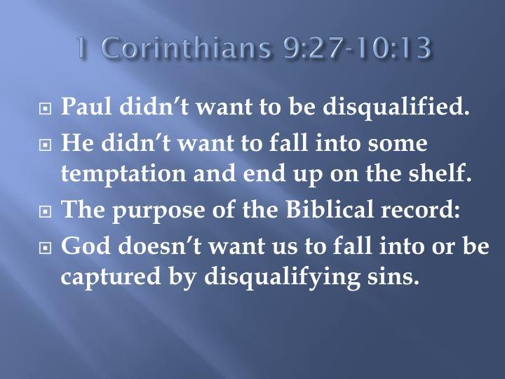1 Corinthians 9:27-10:13