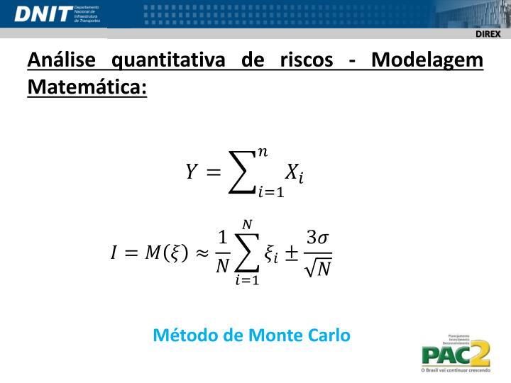 Análise quantitativa de riscos - Modelagem Matemática: