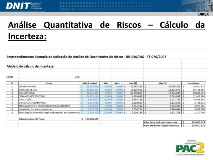 Análise Quantitativa de Riscos – Cálculo da Incerteza: