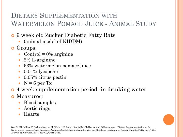 Dietary Supplementation with Watermelon