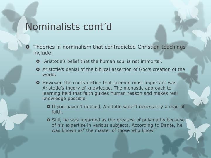 Nominalists cont'd
