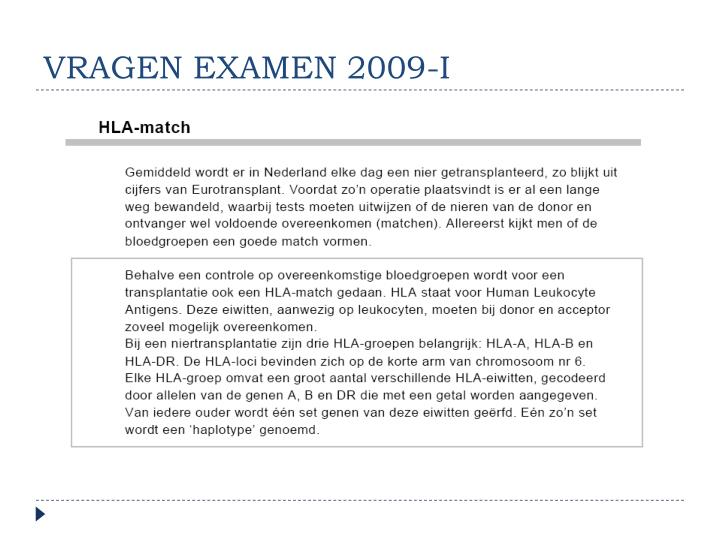 VRAGEN EXAMEN 2009-I