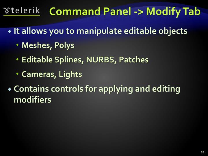 Command Panel -> Modify Tab