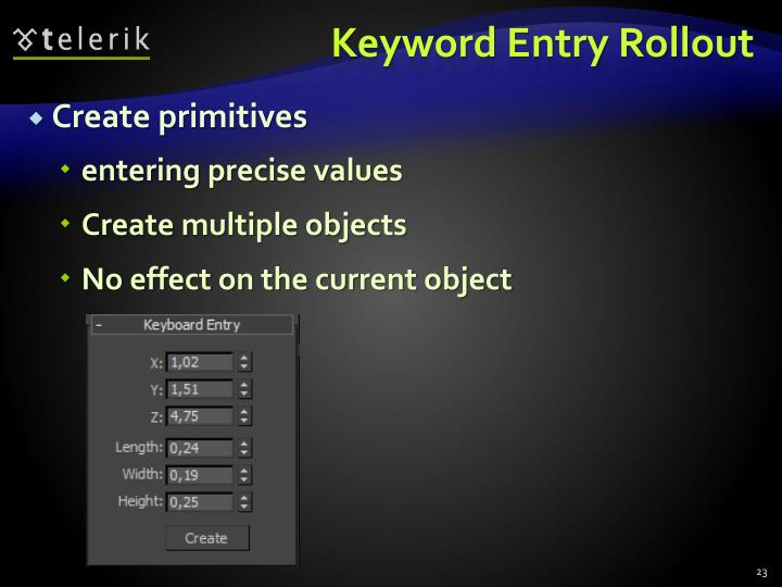 Keyword Entry Rollout