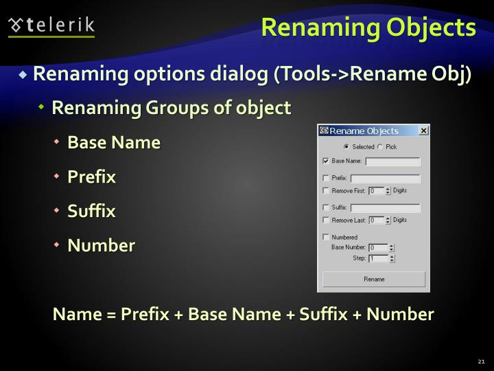 Renaming Objects