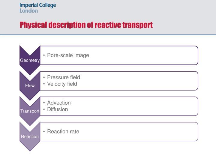 Physical description of reactive transport
