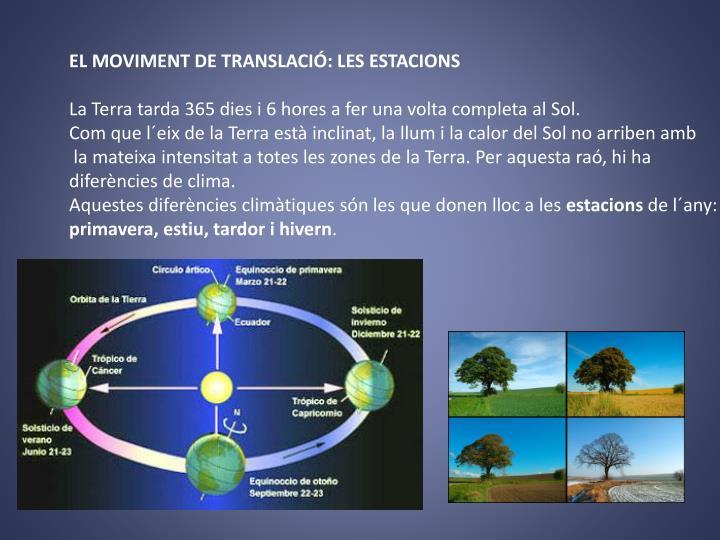 EL MOVIMENT DE TRANSLACIÓ: LES ESTACIONS