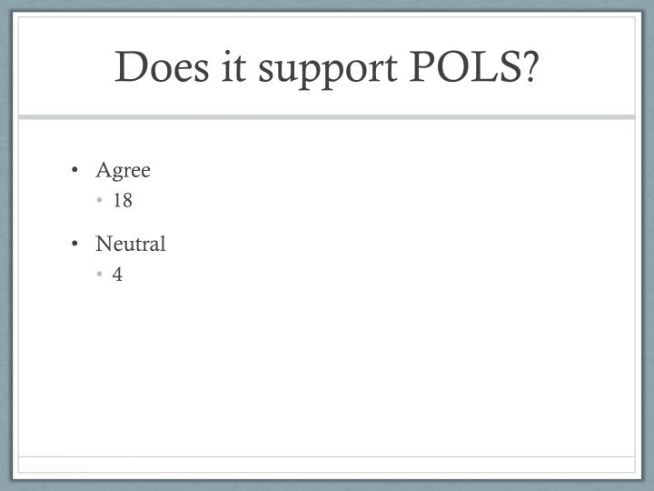 Does it support POLS?