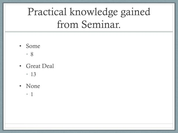 Practical knowledge gained from Seminar.