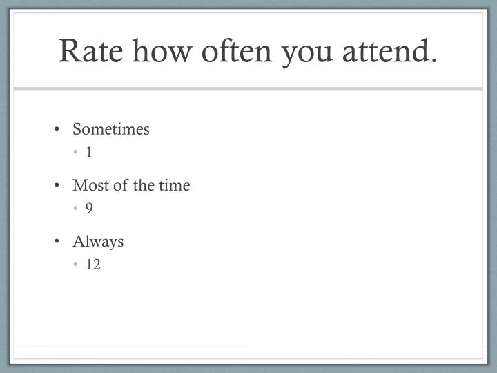 Rate how often you attend.
