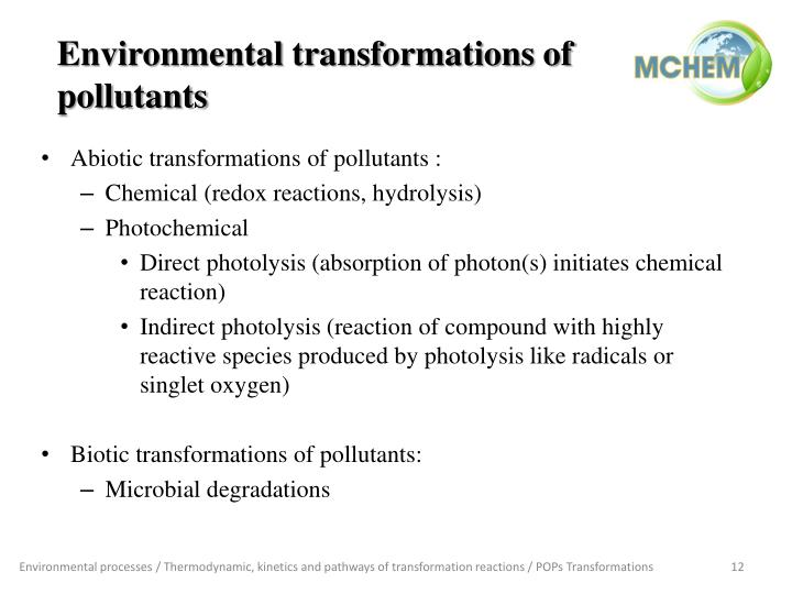 Environmental transformations of pollutants
